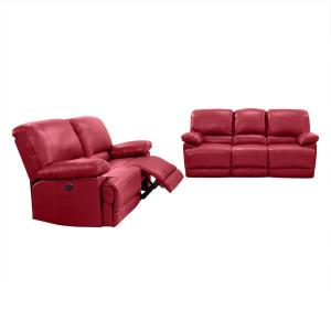 Amazing Corliving 2Pc Plush Power Reclining Red Bonded Leather Sofa Alphanode Cool Chair Designs And Ideas Alphanodeonline