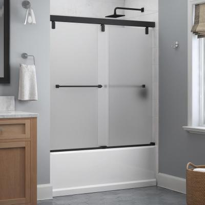 Everly 60 in. x 59-1/4 in. Mod Semi-Frameless Sliding Bathtub Door in Matte Black and 1/4 in. (6mm) Niebla Glass