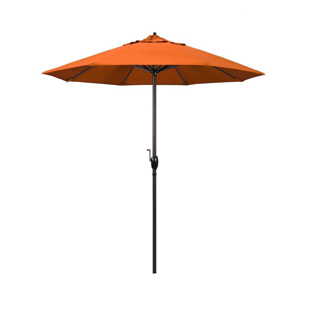 7.5 ft. Bronze Aluminum Market Auto-Tilt Crank Lift Patio Umbrella in Tuscan Sunbrella