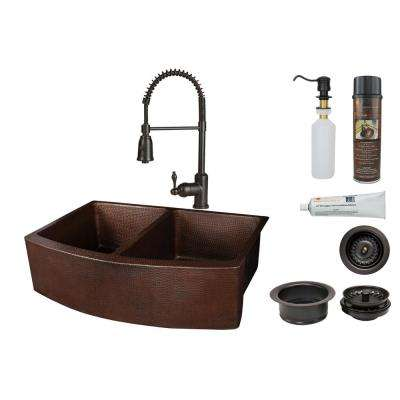 All-in-One Apron Front Copper 33 in. 50/50 Double Bowl Kitchen Rounded Apron Sink with Spring Faucet, Oil Rubbed Bronze