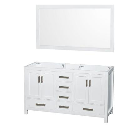 Sheffield 59 in. Double Vanity Cabinet with 58 in. Mirror in White