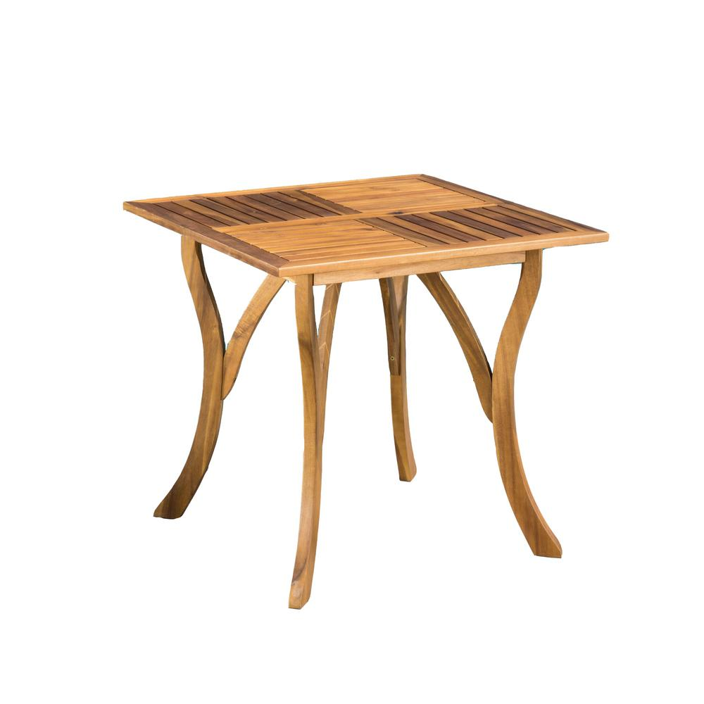Noble House Camdyn Teak Square Wood Outdoor Dining Table 7245 The Home Depot