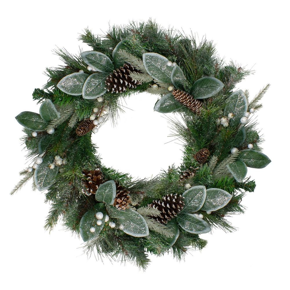 Northlight 24 In Unlit Frosted Mixed Pine And Glitter White Berry Artificial Christmas Wreath 33532654 The Home Depot