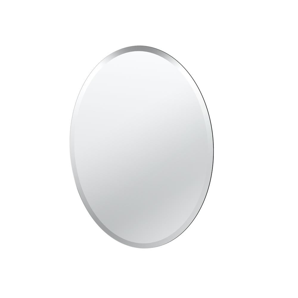 Oval Round Bathroom Mirror Modern Frameless Glass Style 26 5 Inches X 19 New