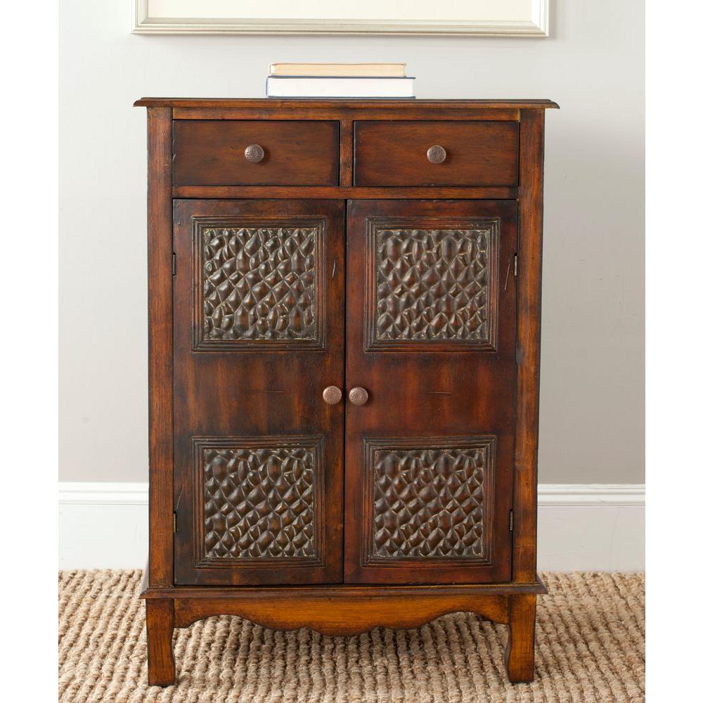 Safavieh herbert dark brown storage cabinet amh a the