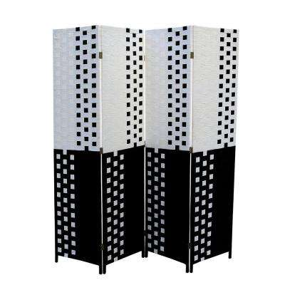 5.9 ft. Black and White 4-Panel Room Divider