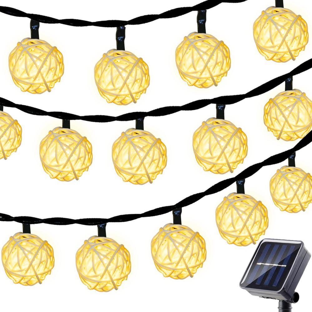 15 ft. 30 LED Warm White Globe Rattan Ball String Lights Solar Rattan Ball Fairy String Light