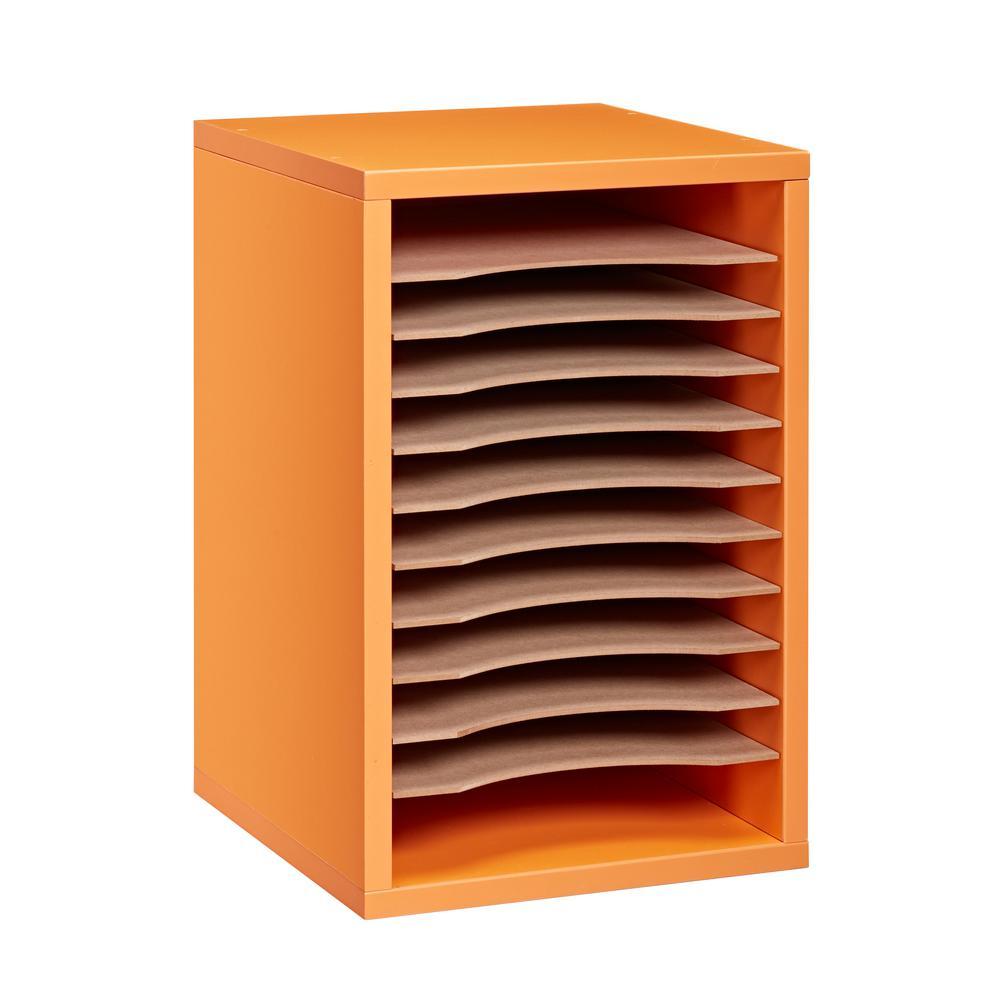 Wood 11 Compartment Vertical Paper Sorter Literature File Organizer, Orange