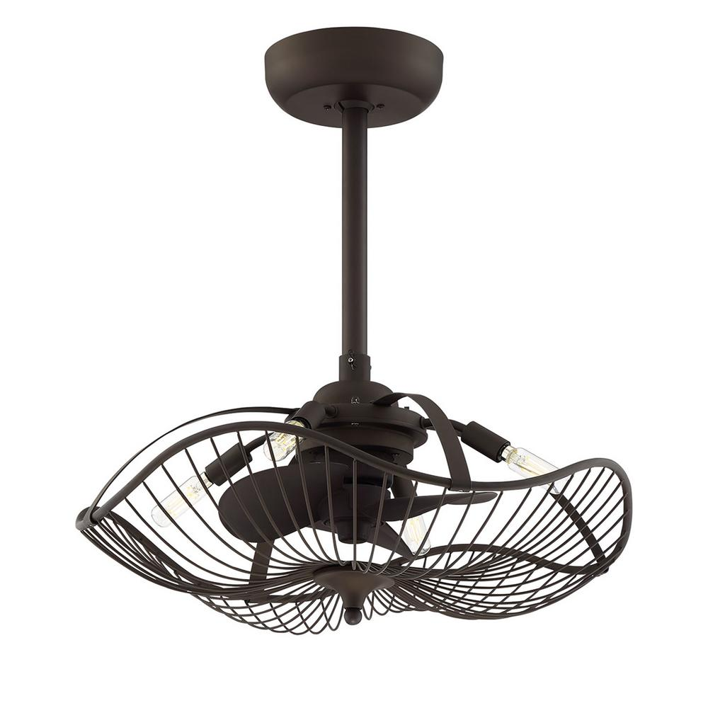 Fifth and Main Lighting Auri 22.25 in. Indoor Aged Bronze Ceiling Fan with Light and Remote Control