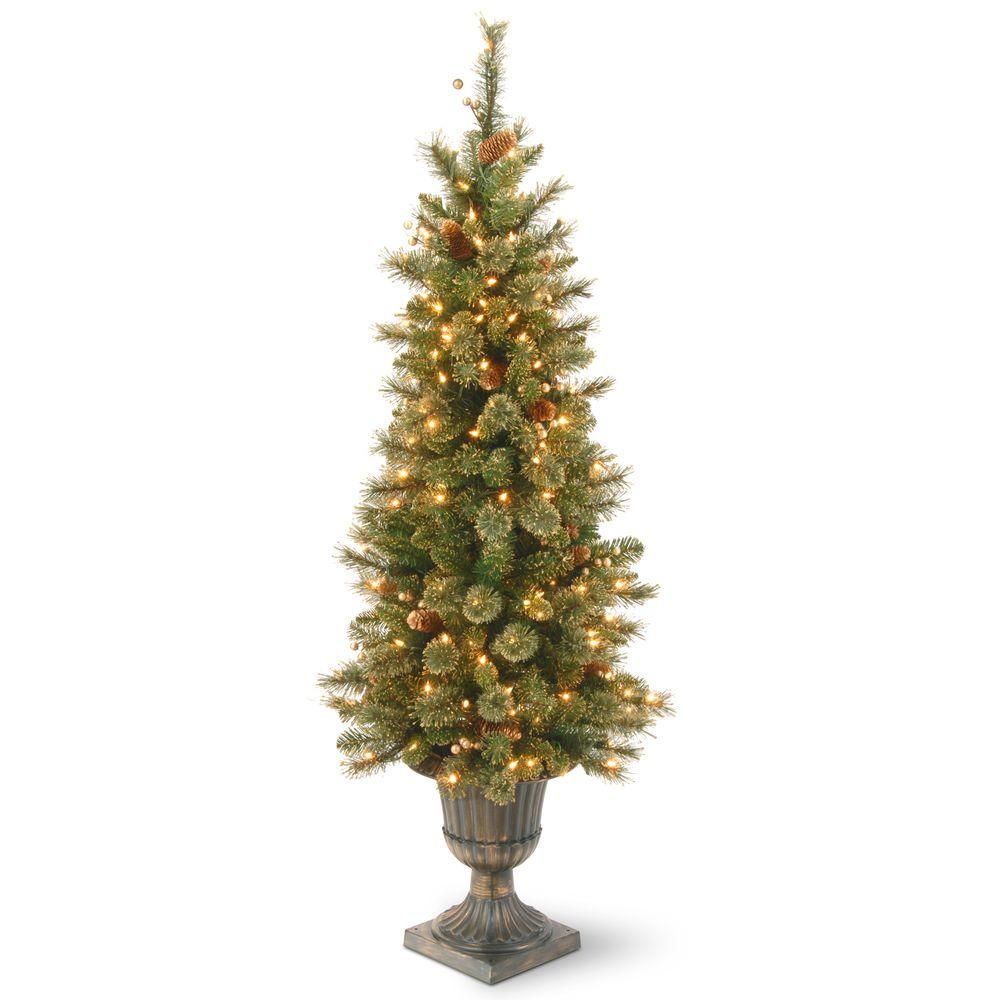 4 ft. Glittery Gold Pine Entrance Artificial Christmas Tree in Dark