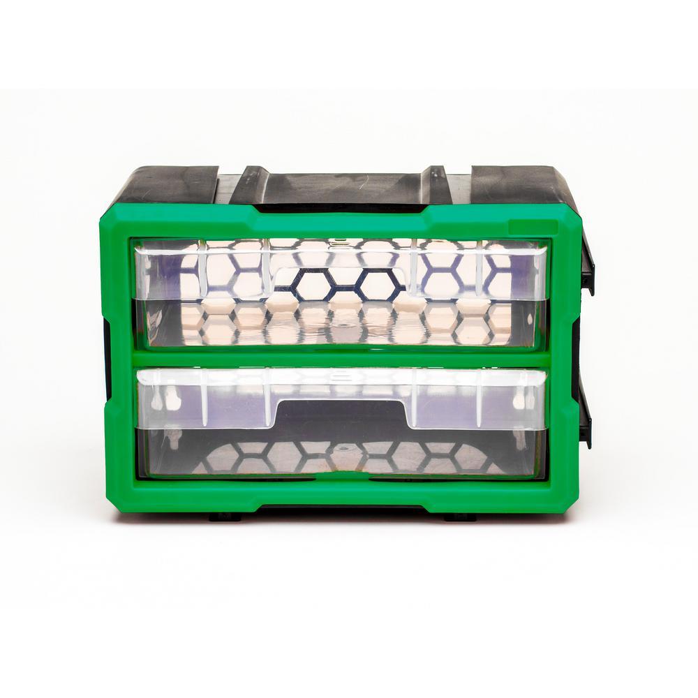 2-Compartment Interlocking Small Parts Organizer, Green or Black