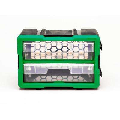2-Compartment Interlocking Small Parts Organizer, Green or Black