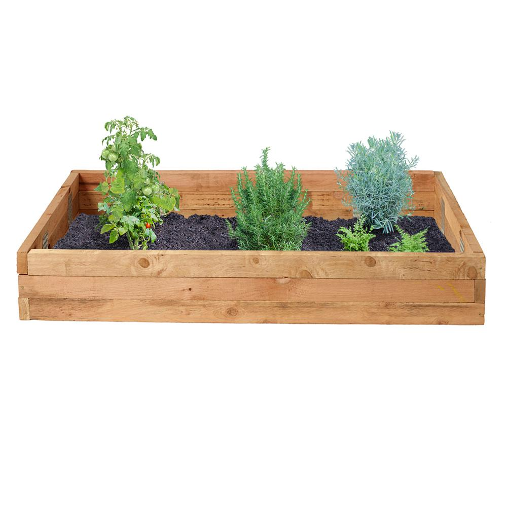 Outdoor Essentials 3 ft. x 6 ft. Western Red Cedar Raised Garden Bed Kit