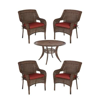Cambridge Brown 5-Piece Wicker Outdoor Patio Dining Set with Sunbrella Henna Red Cushions