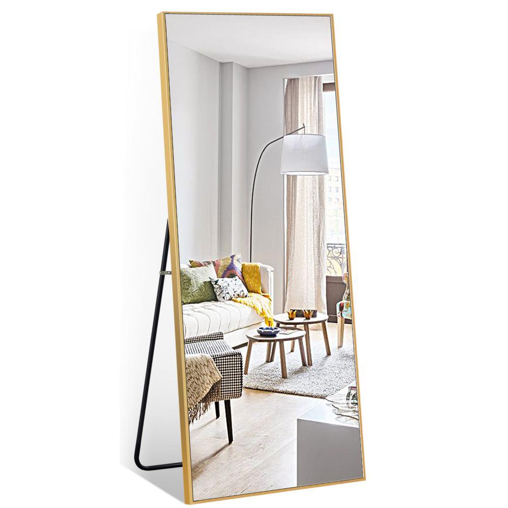 59 in. x 20 in. Modern Rectangle Shape Metal Framed Gold Standing Mirror Full Length Floor Mirror Bedroom Living Room