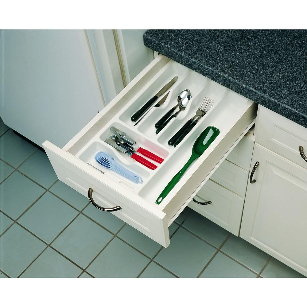 Rev-A-Shelf 2.38 in. H x 14.25 in. W x 21.25 in. D Medium Glossy White Cutlery Tray Drawer Insert
