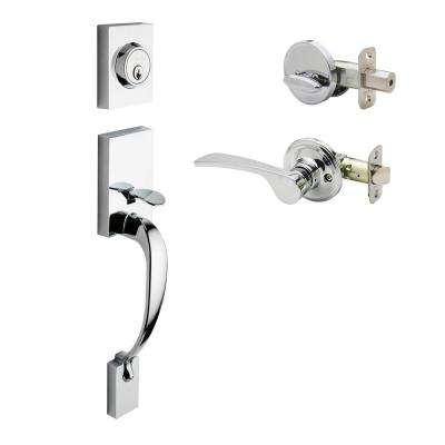 Craftsman Polished Stainless Door Handleset with Right Hand Scandinavian Lever Trim