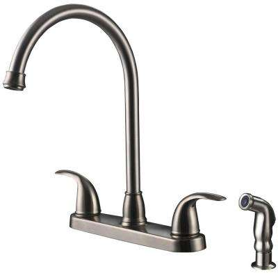 Vantage Collection 2-Handle Standard Kitchen Faucet with Side Sprayer in Stainless Steel