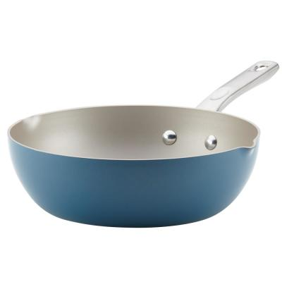 Home Collection 9.75 in. Twilight Teal Porcelain Enamel Non-Stick Chef Pan with Pour Spouts