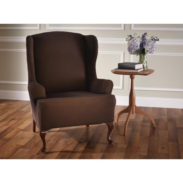 Stretch Sensations Optic Wing Chair Stretch Slipcover OPTWCHAICHOCOLATE
