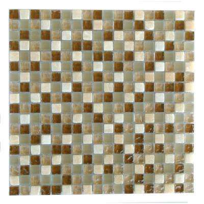 Quartz Beige Deserto 11.7 in. x 11.7 in. x 7.94 mm Glass and Stone Mosaic Tile