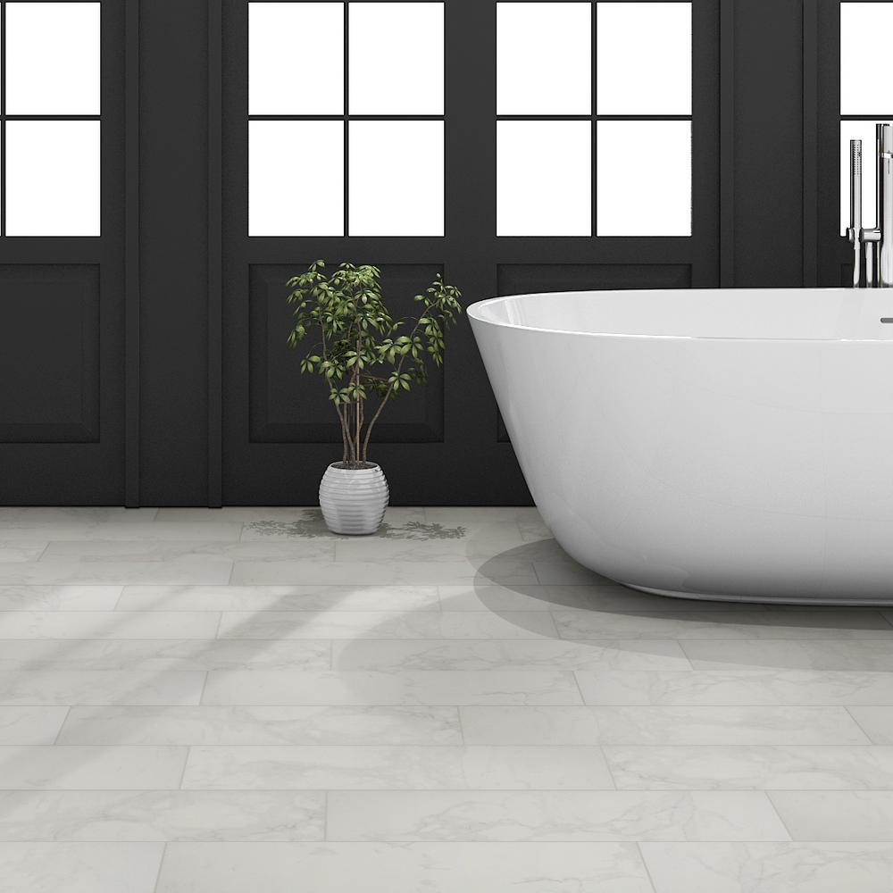 Msi Carrara 6 In X 24 Glazed Porcelain Floor And Wall Tile 14 Sq Ft Case