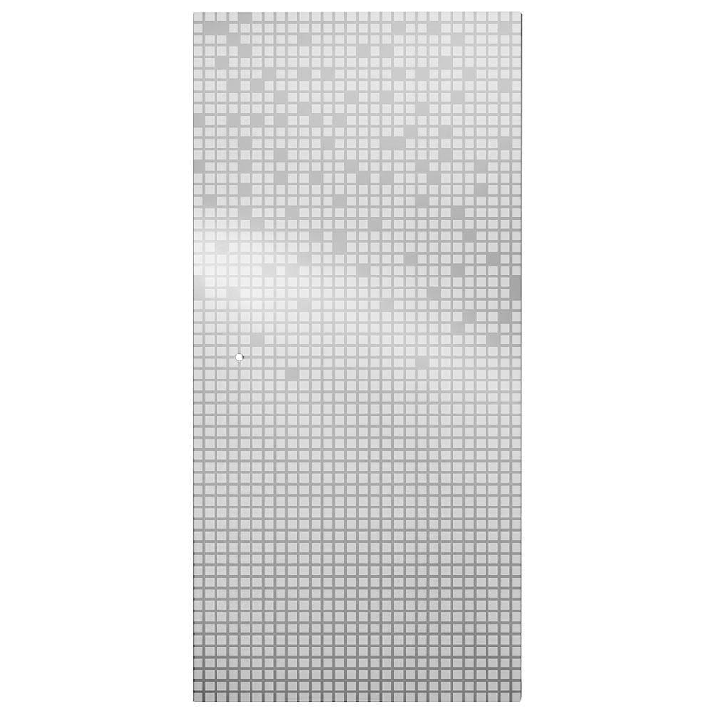 36 in. Semi-Frameless Pivot Shower Door Glass Panel in Mozaic