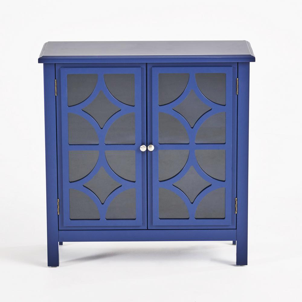 Noble House Melora Navy Blue Brown Fir Wood Accent Cabinet was $222.03 now $156.31 (30.0% off)