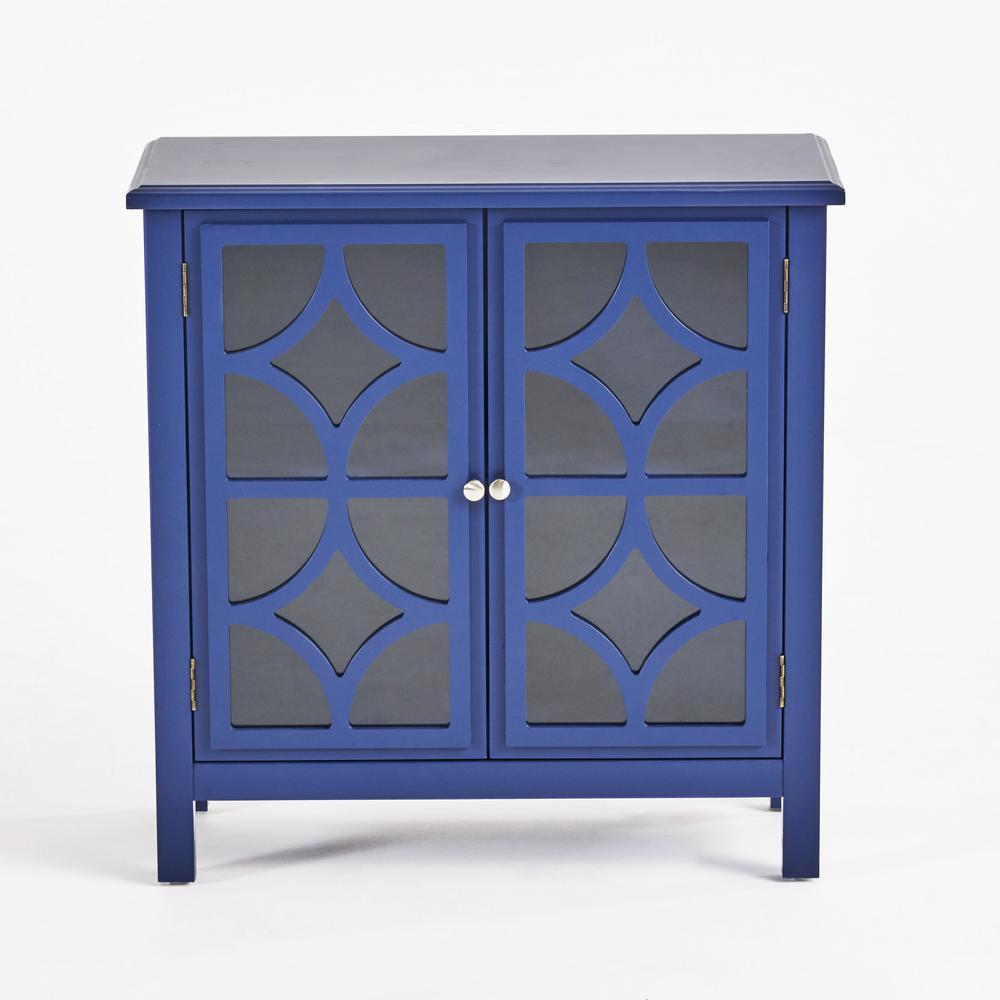 Melora Navy Blue Brown Fir Wood Accent Cabinet