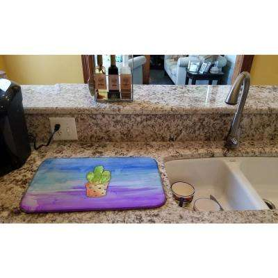 14 in. x 21 in. Multicolor Cactus Blue and Purple Watercolor Dish Drying Mat
