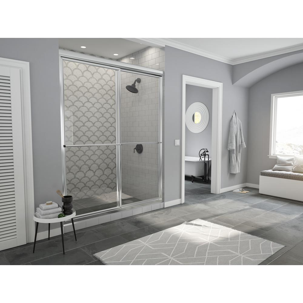 Coastal Shower Doors Newport 42 in. to 43.625 in. x 70 in. Framed Sliding Shower Door with Towel Bar in Chrome and Clear Glass