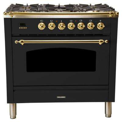 36 in. 3.55 cu. ft. Single Oven Dual Fuel Italian Range True Convection,5 Burners, LP Gas, Brass Trim/Glossy Black