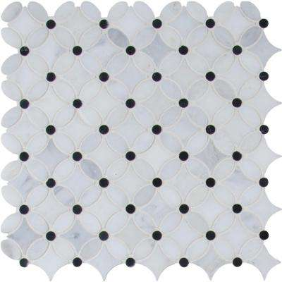 Florita 13.2 in. x 13.2 in. x 10mm Polished Marble Mesh-Mounted Mosaic Tile (12.10 sq. ft. / case)