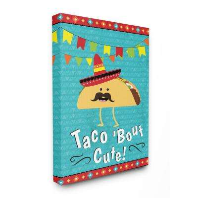 "30 in. x 40 in. ""Taco Bout Cute Cartoon with Mustache"" by ND Art Canvas Wall Art"