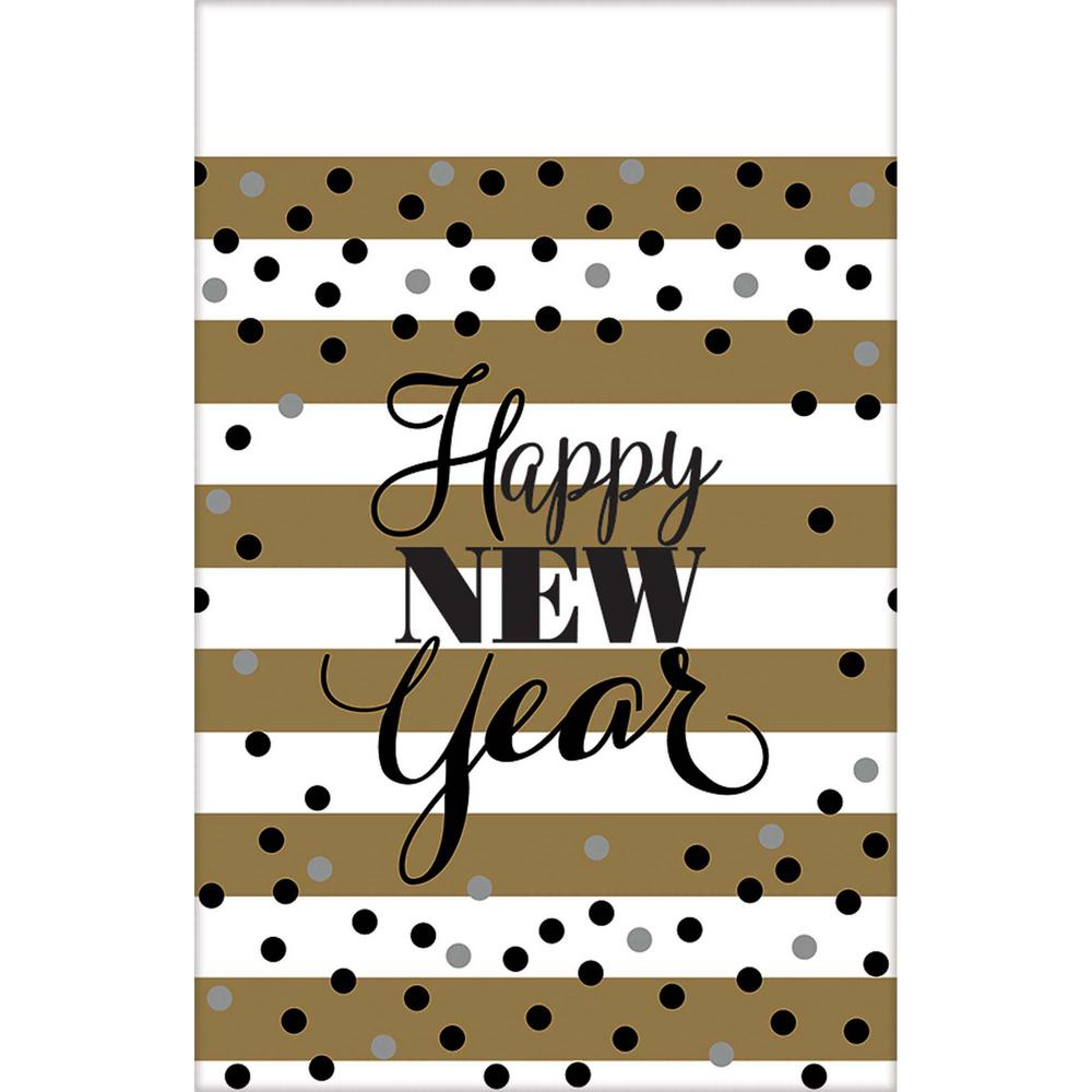 New Year's 54 in. x 102 in. White and Gold Golden New Yea...