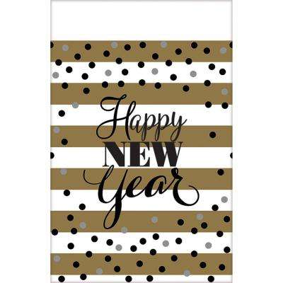 New Year's 54 in. x 102 in. White and Gold Golden New Year Plastic Tablecover (3-Pack)