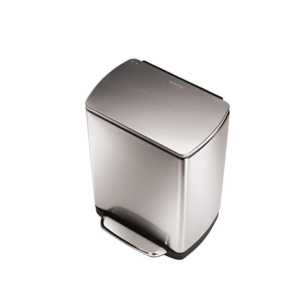 simplehuman 30 l Fingerprint-Proof Brushed Stainless Steel Rectangular Step Trash Can-DISCONTINUED