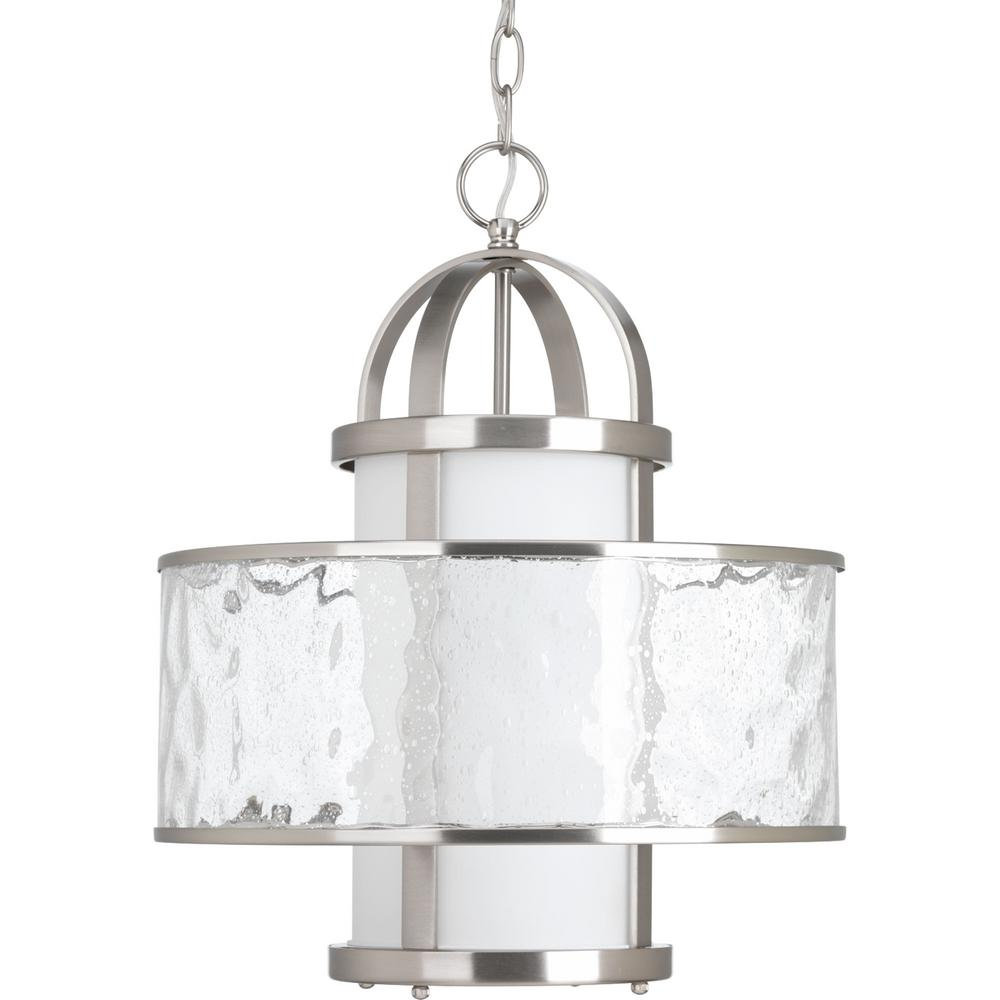 Progress Lighting Bay Court Collection 1 Light Brushed Nickel Large Foyer Pendant With Distressed Clear