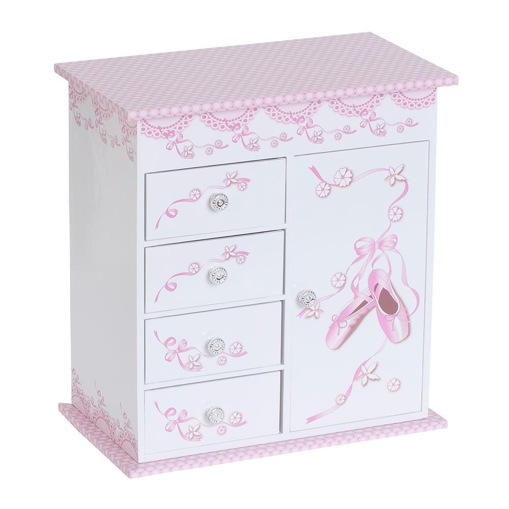 Cristiana Girl's White Fashion Paper Musical Ballerina Jewelry Box