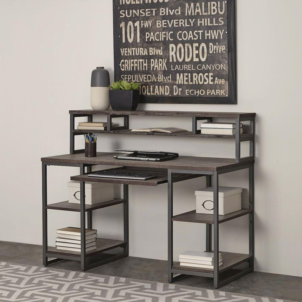 Home Styles Barnside Gray Desk With Hutch