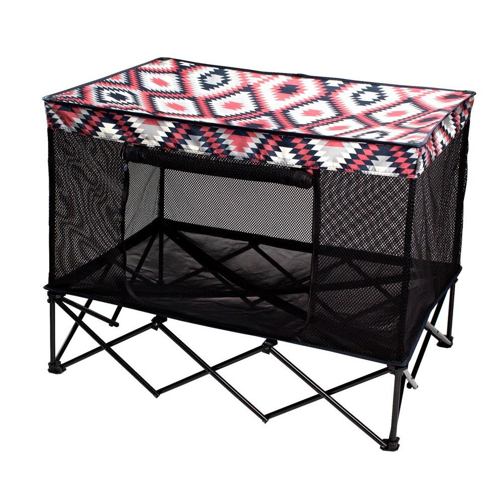Quik Shade 42 in. W x 30 in. D Large Southwestern Blanket Pattern Instant Pet Kennel with Mesh Bed