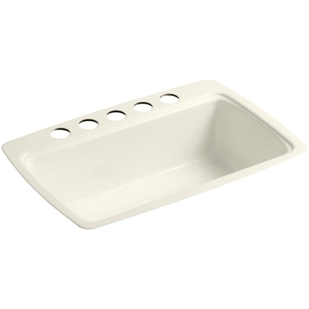 KOHLER Cape Dory Undermount Cast-Iron 33 in. 5-Hole Single Bowl Kitchen Sink in Biscuit