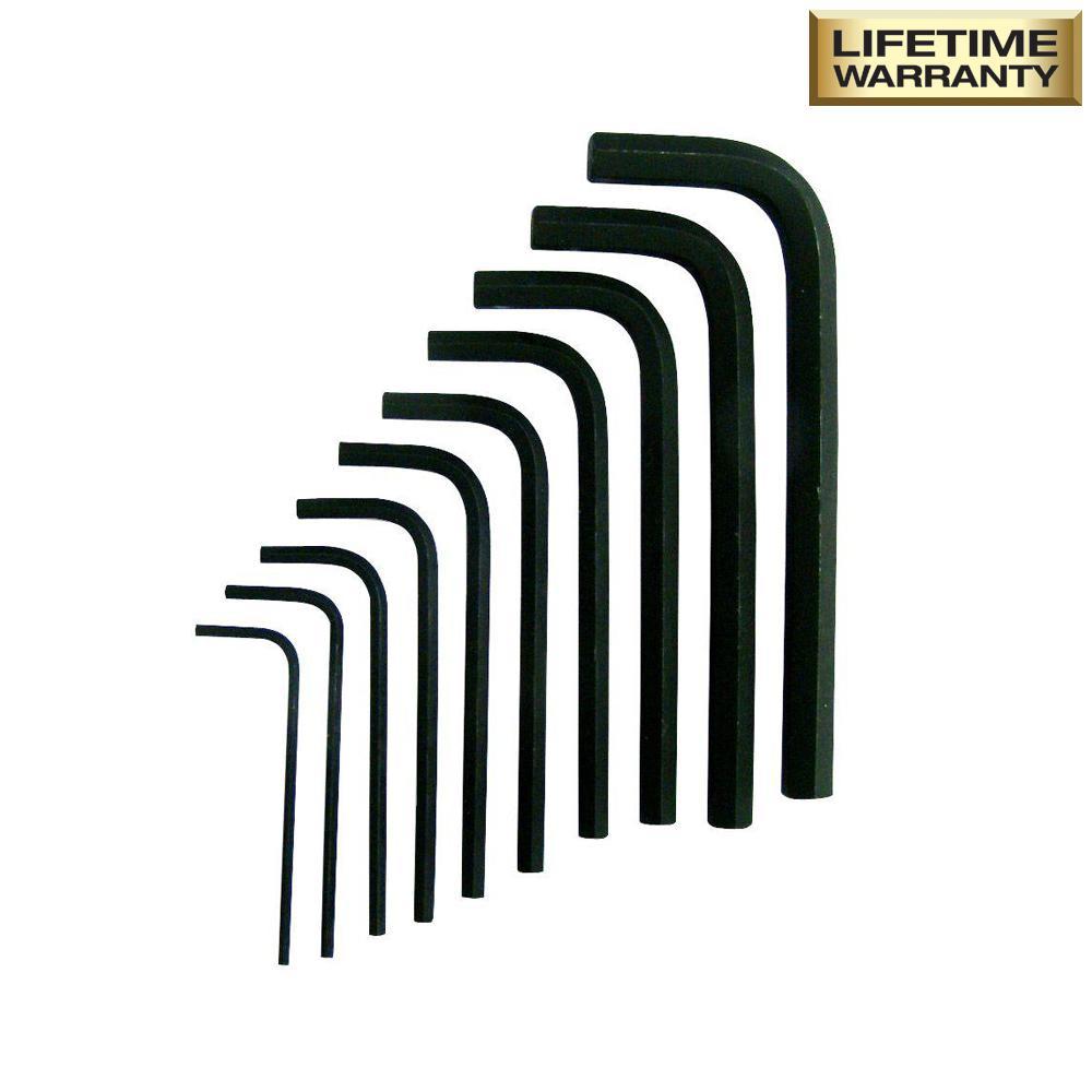 SAE Short Arm Hex Key Set (10-Piece)