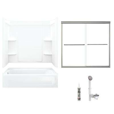 Ensemble 30 in. x 60 in. x 71 in. Bath and Shower Kit with Left-Hand Drain in White and Brushed Nickel