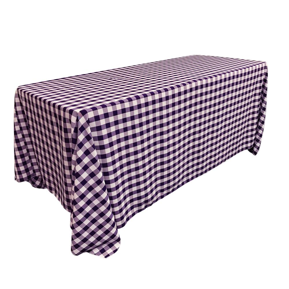 Superior White And Purple Polyester Gingham Checkered