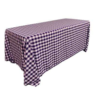 """90 in. x 132 in. White and Purple Polyester Gingham Checkered Rectangular Tablecloth"""