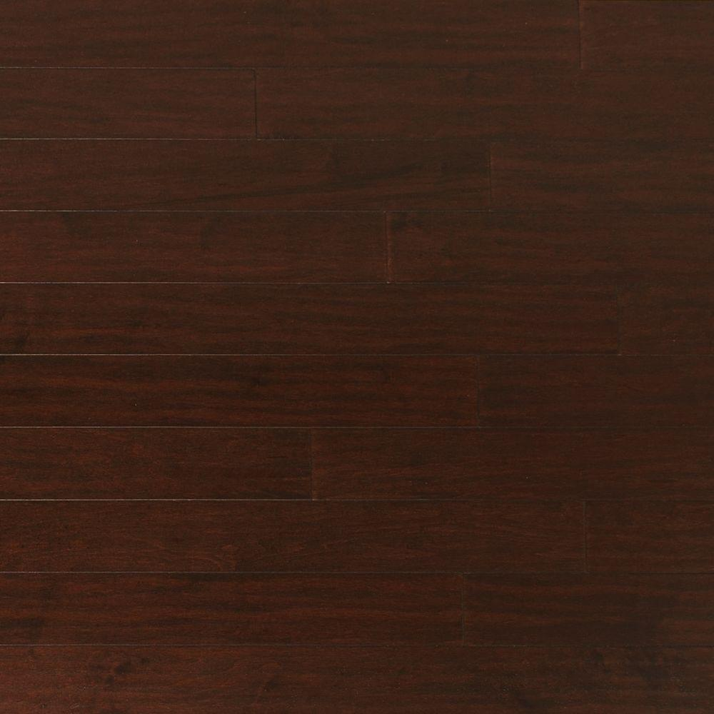 Heritage Mill Take Home Sample Scraped Maple Coffee Engineered Click Hardwood Flooring 5 In. X 7 In., Brown