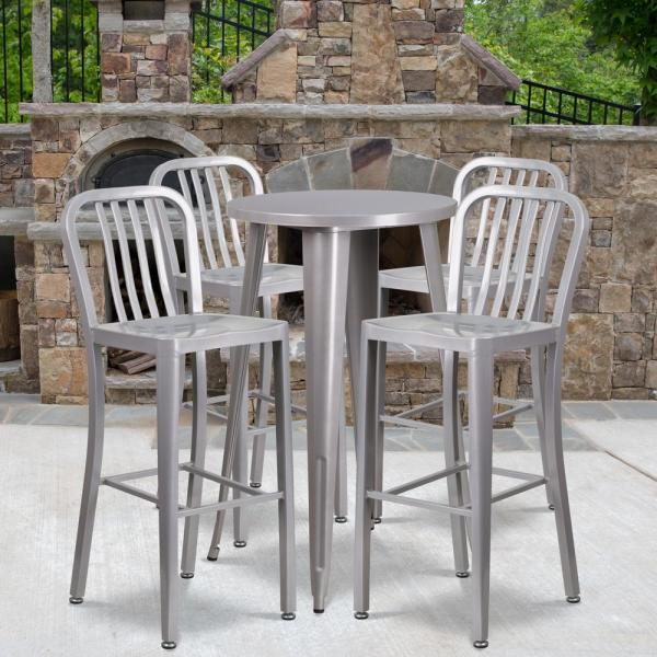 5 Piece Metal Round Outdoor Bistro Set