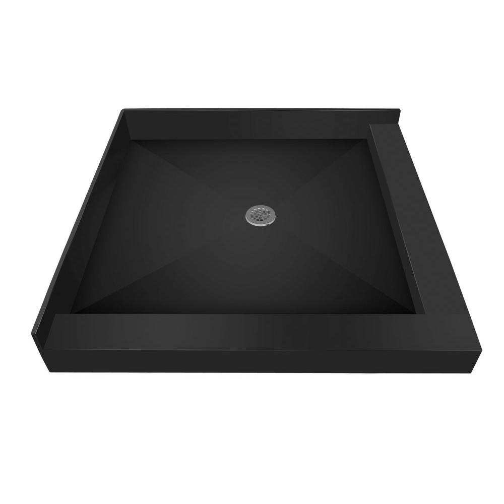 tile redi 36 in x 36 in double threshold shower base with center the home depot