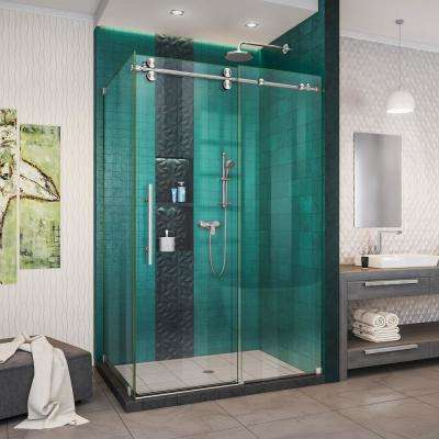 Enigma-XO 44 -3/8 to 48 -3/8 in. W x 76 in. H Fully Frameless Sliding Shower Enclosure in Brushed Stainless Steel